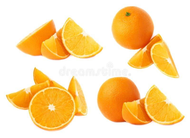Gediende oranje die fruitsamenstelling over de witte achtergrond, reeks wordt geïsoleerd verschillende foreshortenings stock fotografie