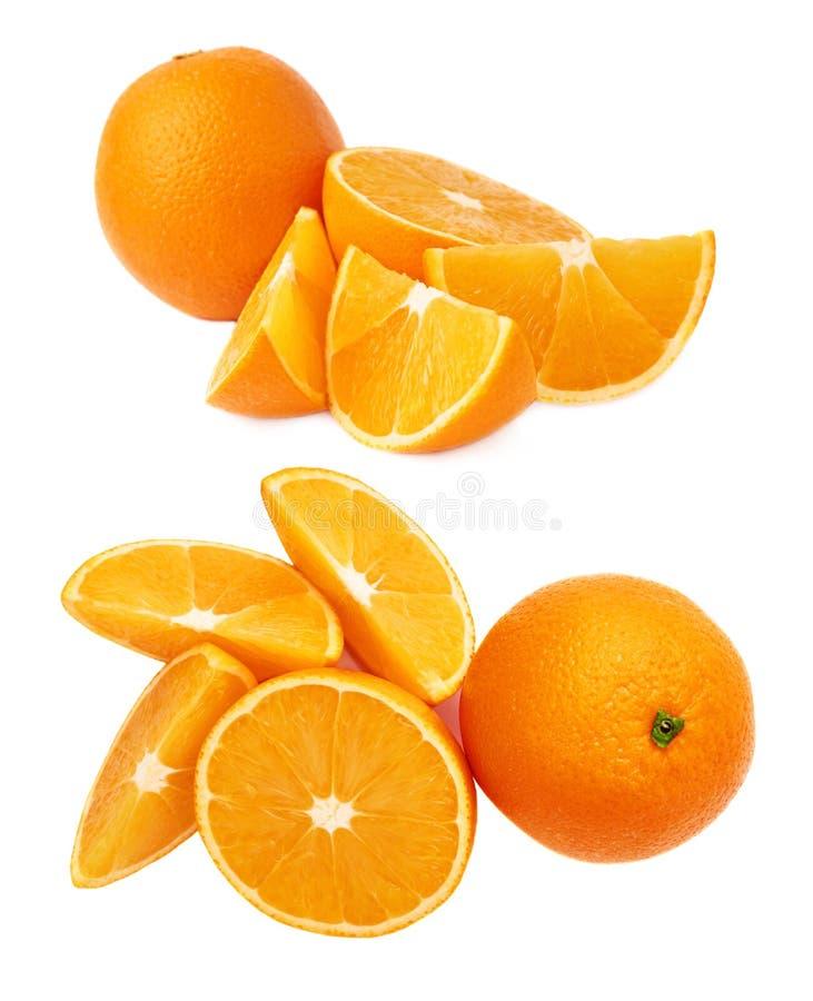 Gediende oranje die fruitsamenstelling over de witte achtergrond, reeks wordt geïsoleerd verschillende foreshortenings stock foto