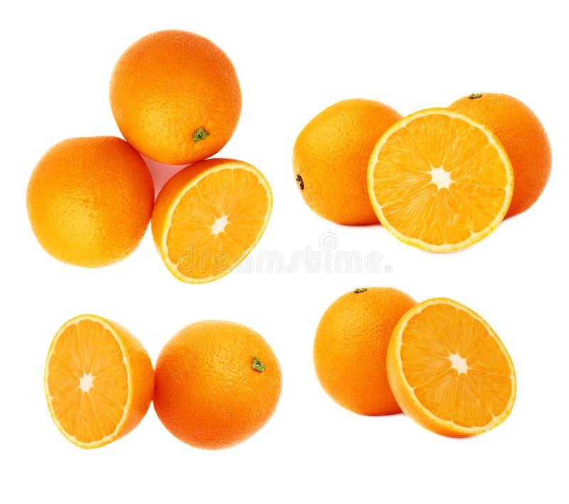 Gediende oranje die fruitsamenstelling over de witte achtergrond, reeks wordt geïsoleerd verschillende foreshortenings royalty-vrije stock foto's