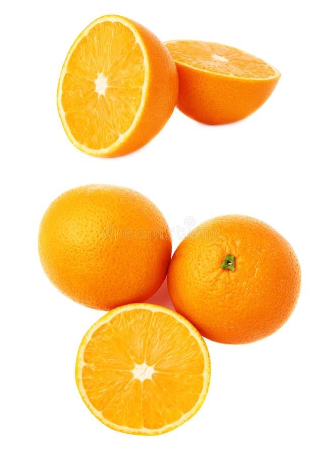 Gediende oranje die fruitsamenstelling over de witte achtergrond, reeks wordt geïsoleerd verschillende foreshortenings stock afbeelding