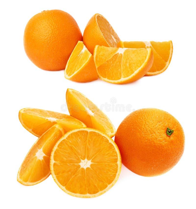 Gediende oranje die fruitsamenstelling over de witte achtergrond, reeks wordt geïsoleerd verschillende foreshortenings royalty-vrije stock afbeelding