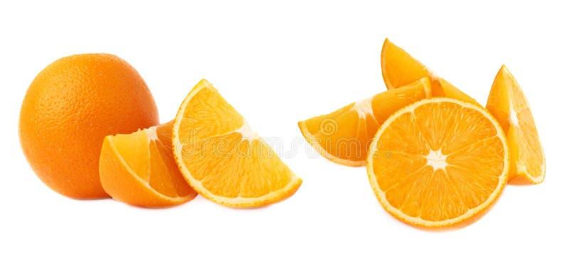 Gediende oranje die fruitsamenstelling over de witte achtergrond, reeks wordt geïsoleerd verschillende foreshortenings stock foto's