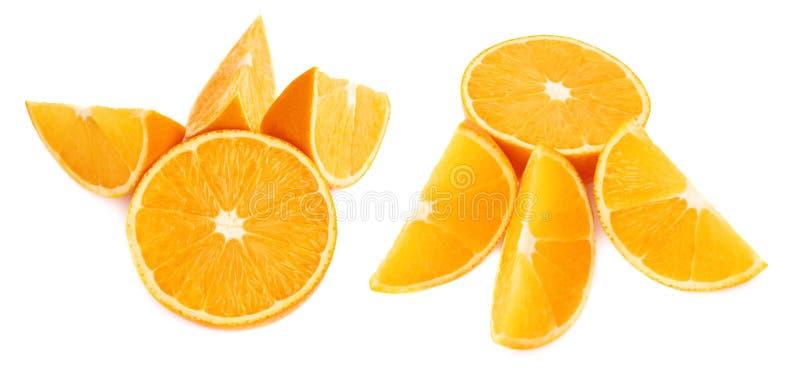 Gediende oranje die fruitsamenstelling over wordt geïsoleerd royalty-vrije stock afbeeldingen