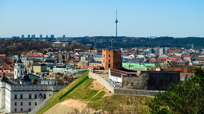 Gediminas塔在维尔纽斯,立陶宛 库存照片