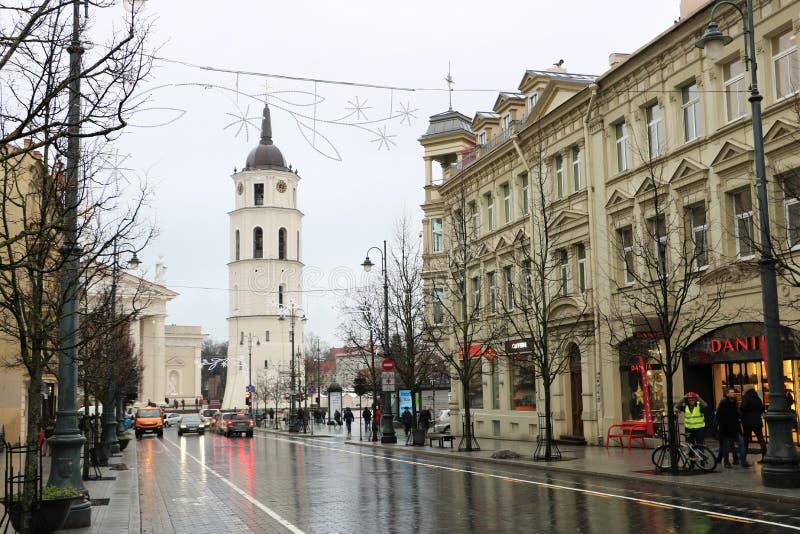 Gediminas aveny i Vilnius arkivfoton