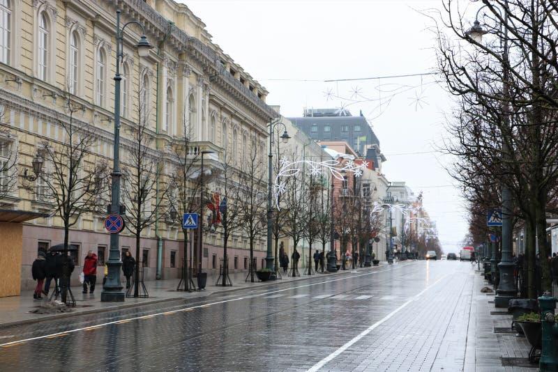Gediminas aveny i Vilnius royaltyfri foto