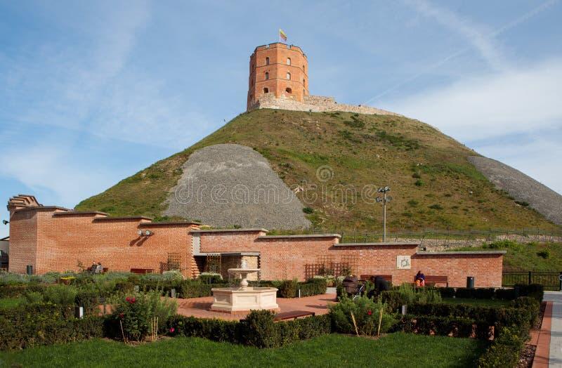 Gediminas `-torn eller slott i Vilnius, Litauen arkivfoto