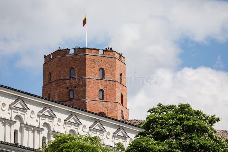 Gediminas torn på kullen i den gamla stadmitten i Vilnius royaltyfria foton