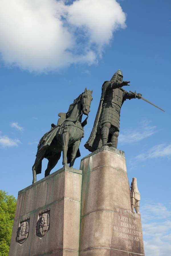 Gediminasmonument in Vilnius stock foto