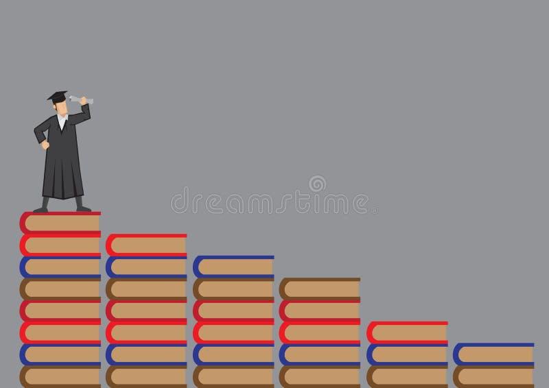 Gediplomeerde in Academische Kleding die zich bovenop Boeken Vectorillus bevinden vector illustratie