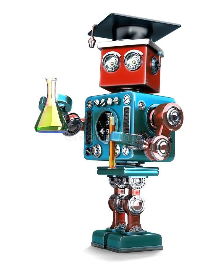Gediplomeerde Retro robot met laboratoriumglaswerk Geïsoleerde Contians het knippen weg stock illustratie