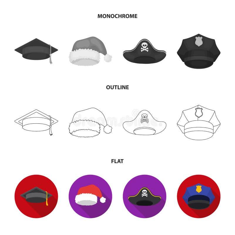 Gediplomeerde, santa, politie, piraat De hoeden geplaatst inzamelingspictogrammen in vlakte, schetsen, de zwart-wit voorraad van  royalty-vrije illustratie