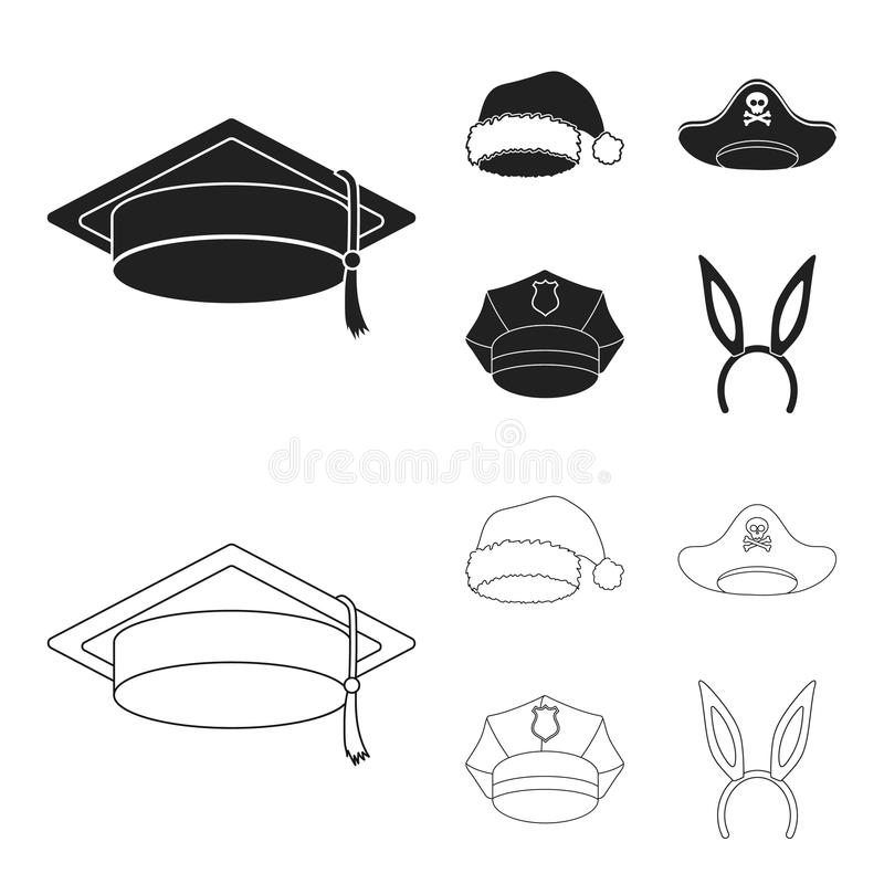 Gediplomeerde, santa, politie, piraat De hoeden geplaatst inzamelingspictogrammen in zwarte, schetsen Web van de de voorraadillus stock illustratie