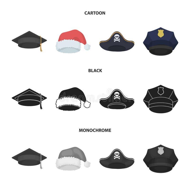 Gediplomeerde, santa, politie, piraat Hoeden geplaatst inzamelingspictogrammen in beeldverhaal, de zwarte, zwart-wit voorraad van stock illustratie