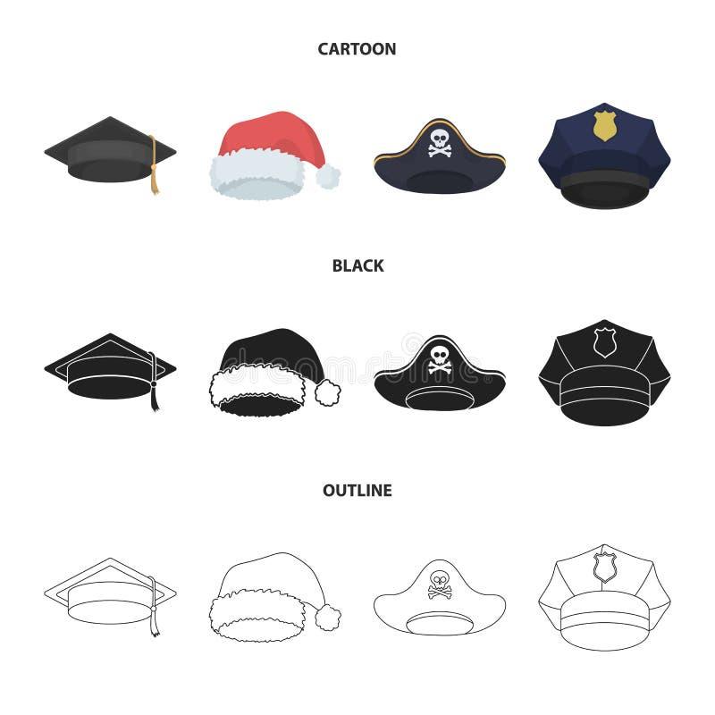 Gediplomeerde, santa, politie, piraat Hoeden geplaatst inzamelingspictogrammen in beeldverhaal, zwarte, vector het symboolvoorraa vector illustratie