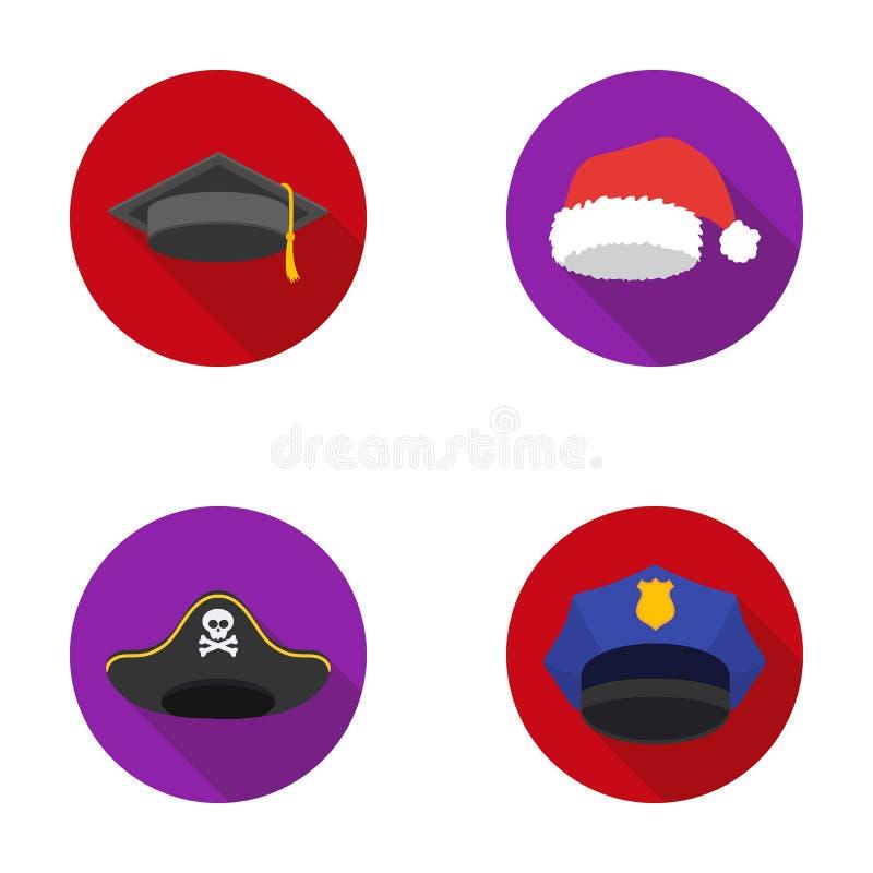 Gediplomeerde, santa, politie, piraat Hoeden geplaatst inzamelingspictogrammen in het vlakke Web van de de voorraadillustratie va vector illustratie