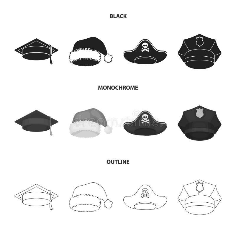 Gediplomeerde, santa, politie, piraat Hoeden geplaatst inzamelingspictogrammen in zwarte, zwart-wit, vector het symboolvoorraad v royalty-vrije illustratie