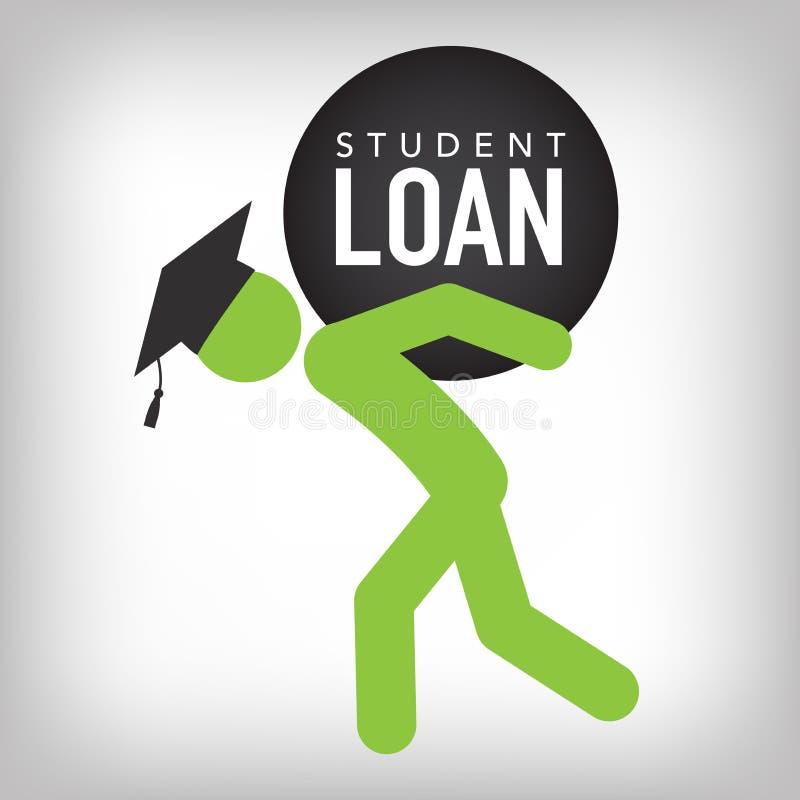 Gediplomeerde Student Loan Icon - Student Loan Graphics voor Onderwijs Financiële steun of Hulp, Overheidsleningen, en Schuld royalty-vrije illustratie