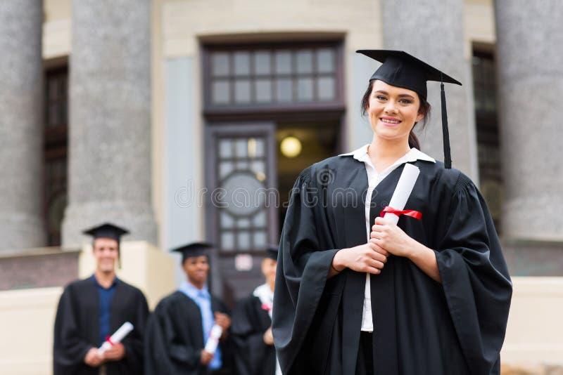 Gediplomeerde universiteitsgraduatie royalty-vrije stock fotografie