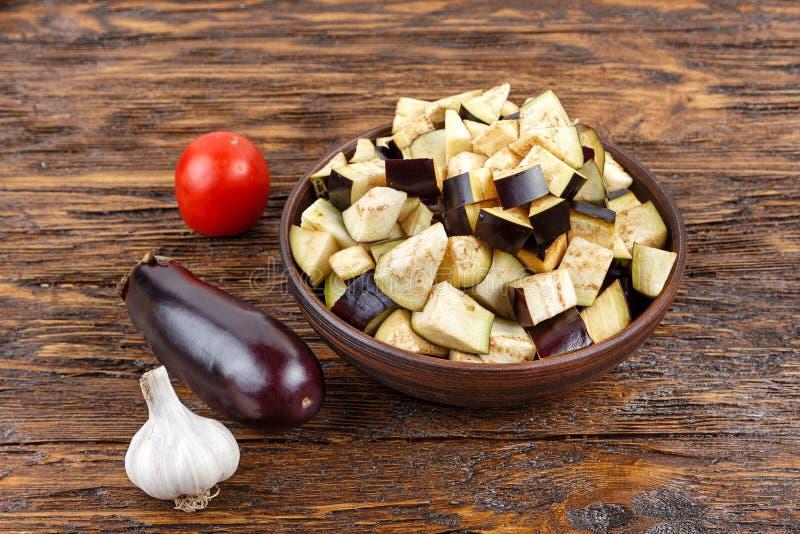 Gedobbelde aubergine stock foto