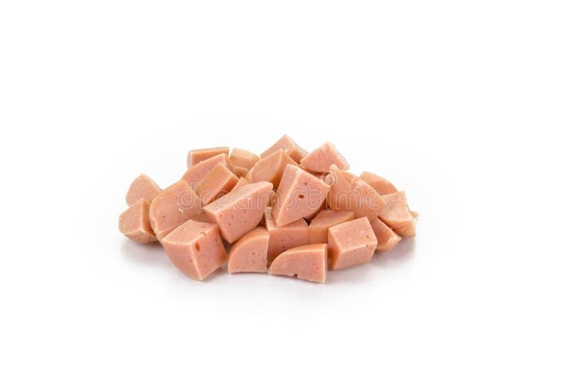Gedobbelde gekookte die varkensvleesworsten op witte achtergrond worden geïsoleerd royalty-vrije stock foto