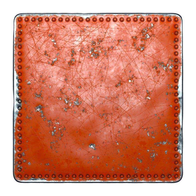 Gedoeld rood metaal met rivieren in de vorm van een vierkant in het midden op witte achtergrond 3d stock fotografie