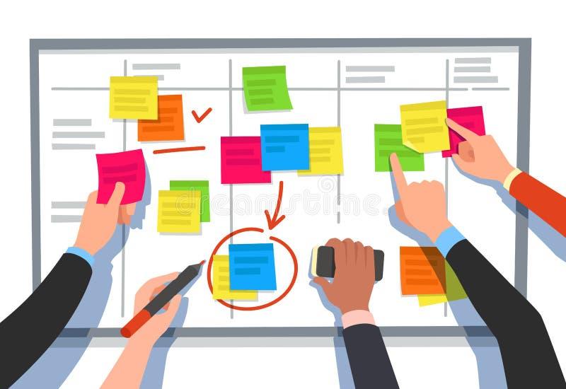 Gedrängebrett Aufgabenliste, Planungsteamaufgaben und Zusammenarbeitsplanflussdiagramm Geschäftsarbeitsflussentwurfs-Karikaturvek vektor abbildung