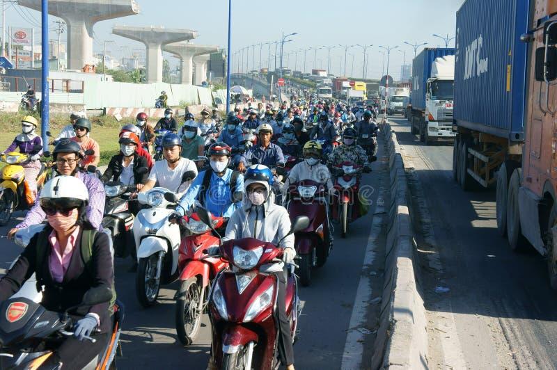 Gedrängt, Vietnam, Asien ctiy, Fahrzeug, Abgase, stockbilder