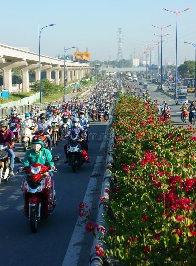 Gedrängt, Vietnam, Asien ctiy, Fahrzeug, Abgase stockfotografie