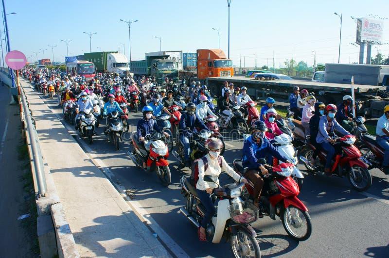 Gedrängt, Vietnam, Asien ctiy, Fahrzeug, Abgase, lizenzfreie stockfotos