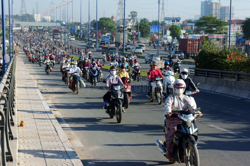 Gedrängt, Vietnam, Asien ctiy, Fahrzeug, Abgase lizenzfreie stockfotos