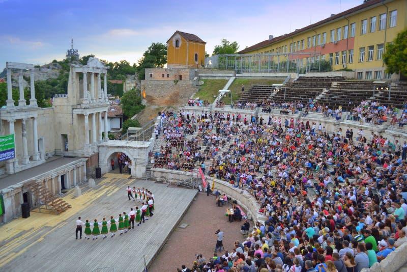 Gedrängtes altes Amphitheater Plowdiw, Bulgarien lizenzfreies stockbild