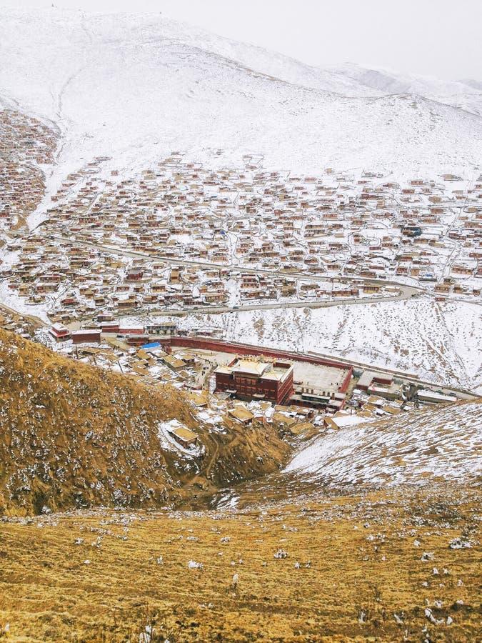 Gedrängtes rotes Haus der buddhistischen Akademie mit starken Schneefällen Buddhist-Akademie Larong Wuming stockbild