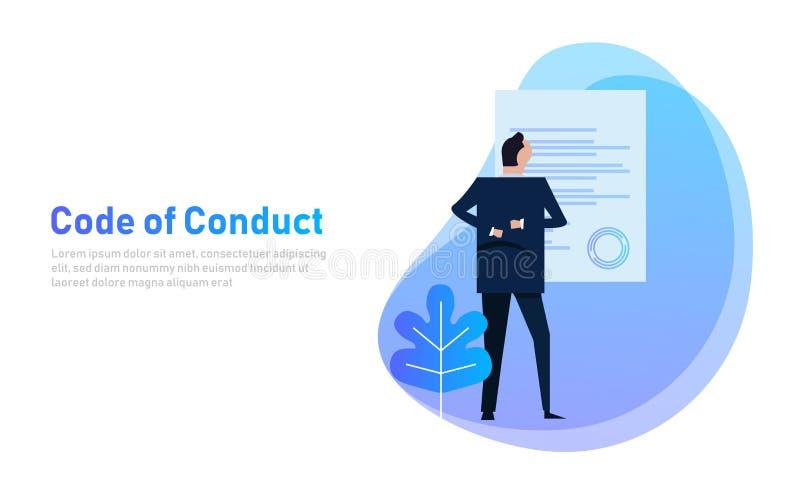 Gedragscode bedrijfsmens die document bekijken Concept ethische integriteitswaarde en ethiek Illustratiesymbool royalty-vrije illustratie