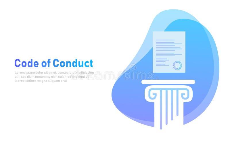 Gedragscode Document op pijler Concept ethische integriteitswaarde en ethiek Illustratiesymbool royalty-vrije illustratie