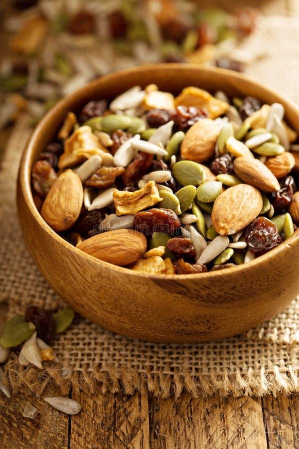 Gedroogd fruit en van de notensleep mengeling stock foto