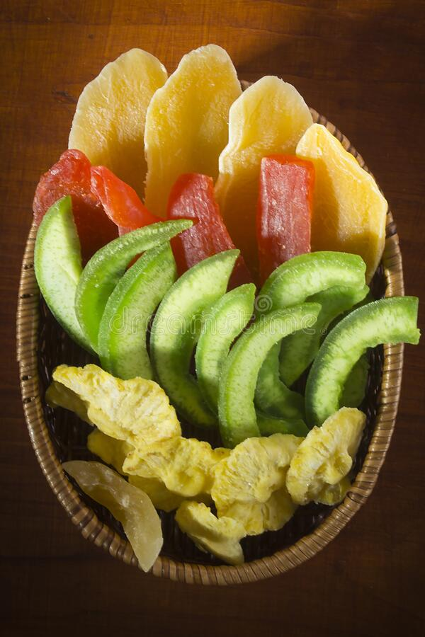 Gedroogde en gekonfijte vruchten stock foto's