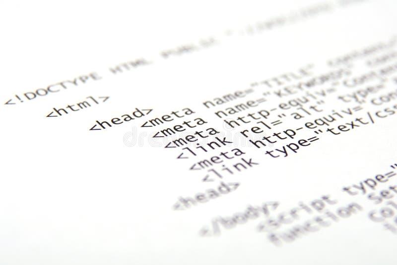 Gedruckter HTML-Code stockfotografie