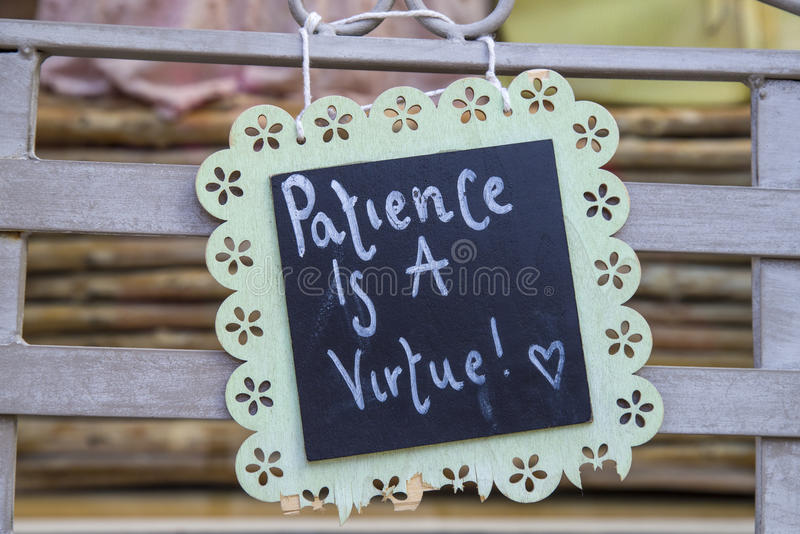 Geduld ist ein Vorzug lizenzfreies stockfoto