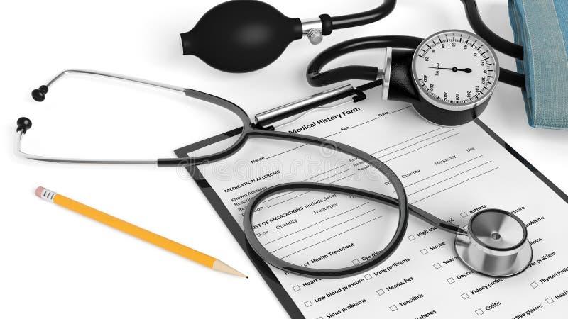 Geduldig vorm en potlood met medische apparatuur stock illustratie