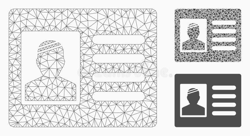 Geduldige Kaart Vector het Mozaïekpictogram van Mesh Wire Frame Model en van de Driehoek stock illustratie
