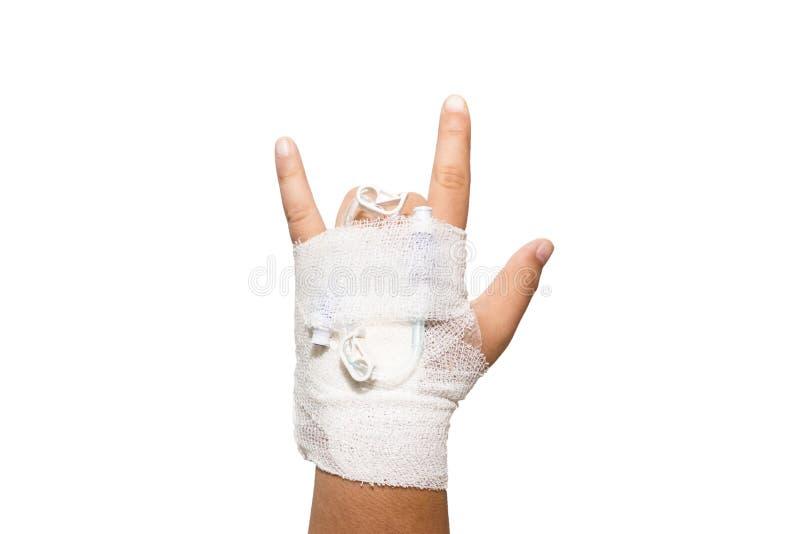 Geduldige kindhand met zoute intraveneus royalty-vrije stock afbeelding