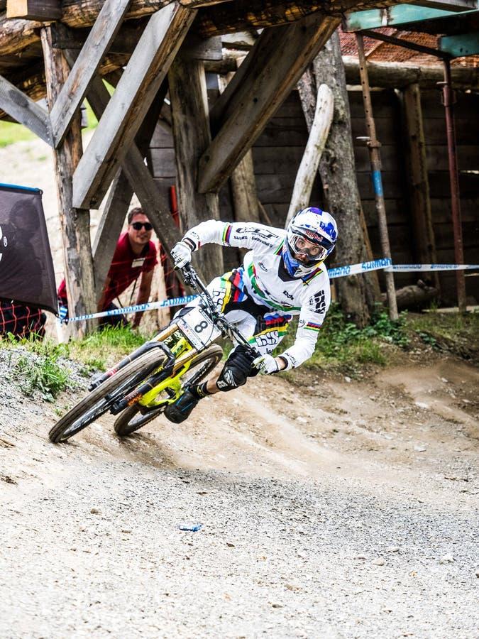 Gee Atherton à UCI en descendant photographie stock