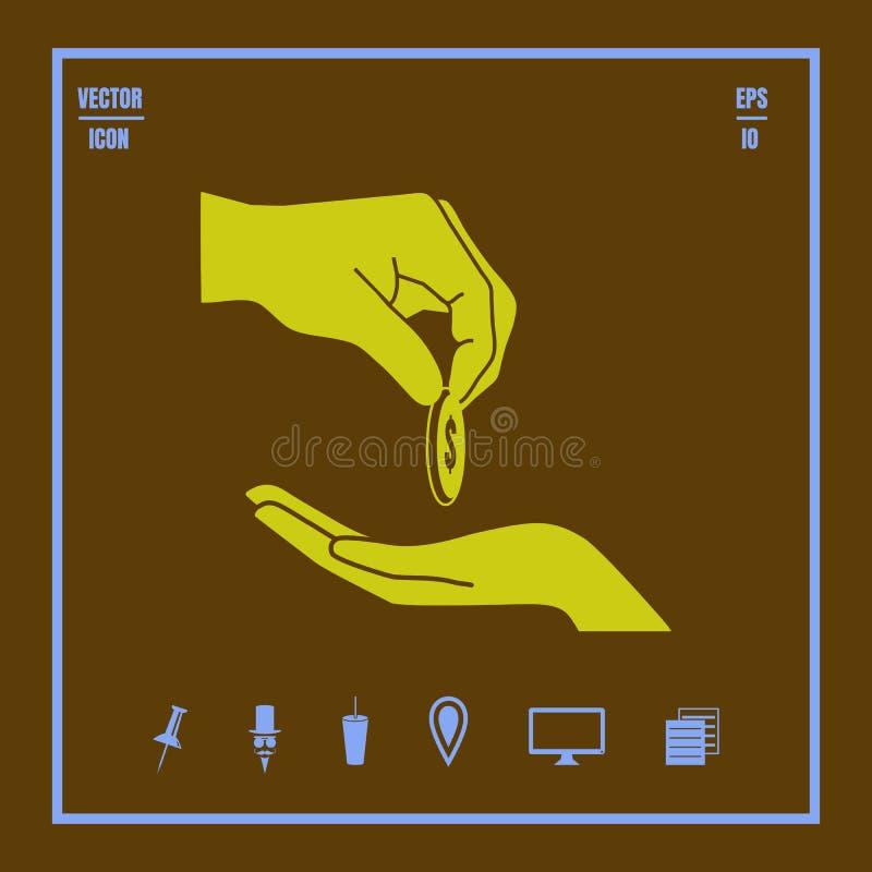 Geef aalmoes of corruptie vectorpictogram vector illustratie