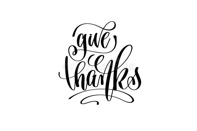Geef dankhand het van letters voorzien inschrijving aan thanksgiving day royalty-vrije illustratie