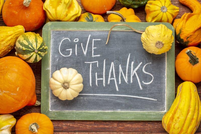 Geef dankuitdrukking op bord met pompoen en pompoenen royalty-vrije stock foto