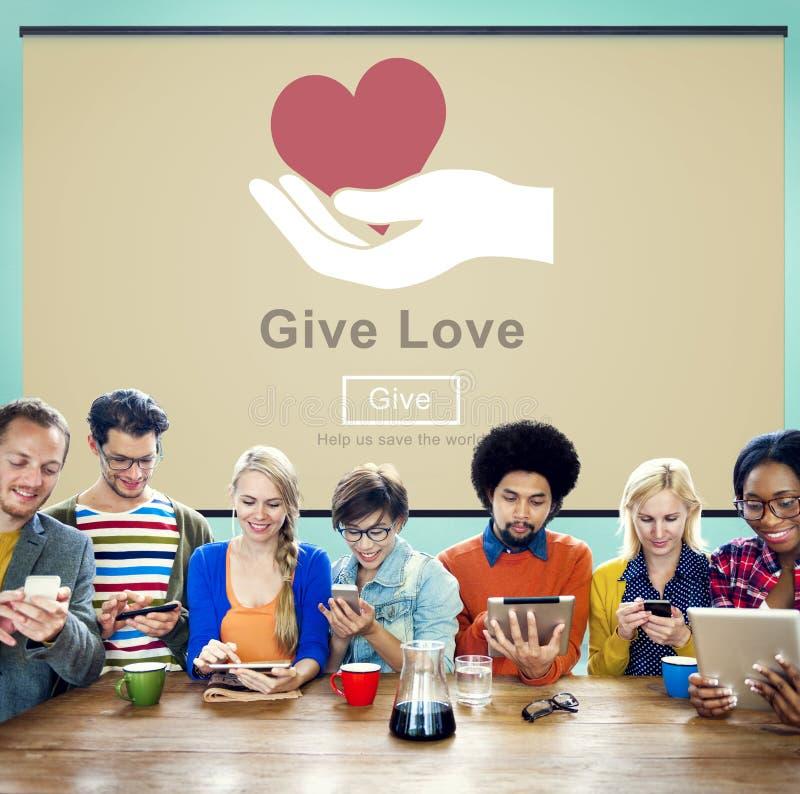 Geef het Concept van de de Vriendelijkheidsliefdadigheid van de Liefdeschenking stock fotografie