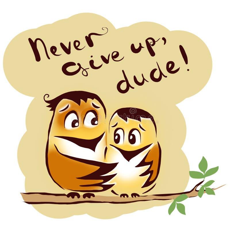 Geef nooit vogels op stock illustratie