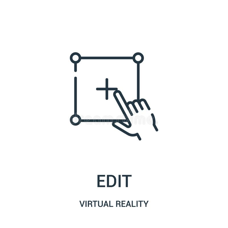 geef pictogramvector van virtuele werkelijkheidsinzameling uit De dunne lijn geeft de vectorillustratie van het overzichtspictogr royalty-vrije illustratie
