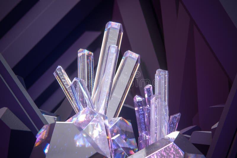 Geef van 3d kristallen met donkere violette achtergrond terug royalty-vrije stock fotografie